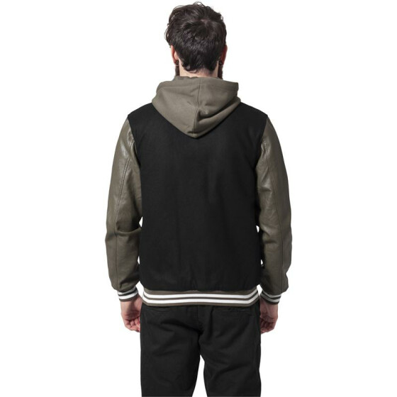 Urban Classics Hooded Oldschool College Jacket, blk/gre M
