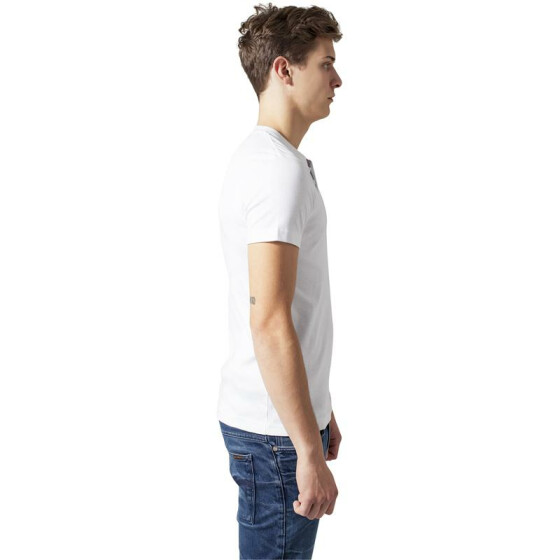Urban Classics Slim 1by1 Henley Tee, white L
