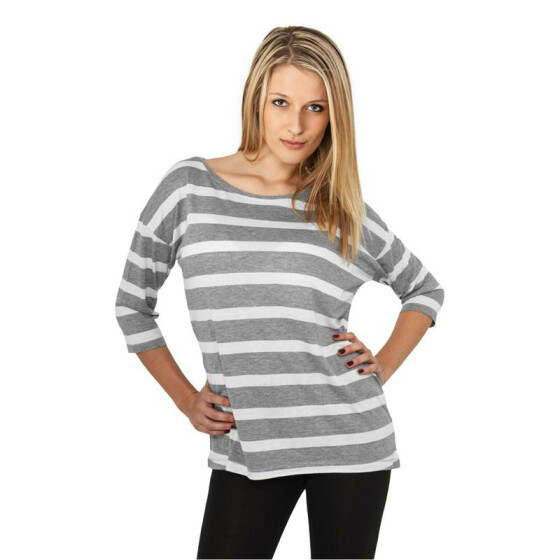 Urban Classics Ladies Loose Striped Tee, gry/wht XL