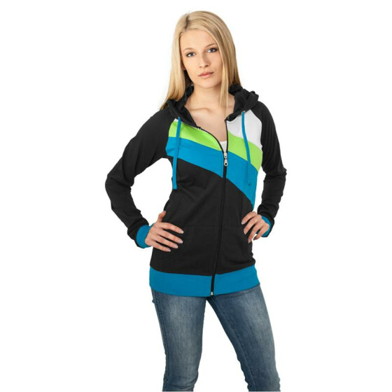 Urban Classics Ladies 3 Color Jersey Ziphoody, blk/tur/lg M