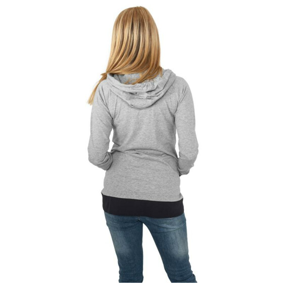 Urban Classics Ladies 3 Color Jersey Ziphoody, gry/nvy/fu M