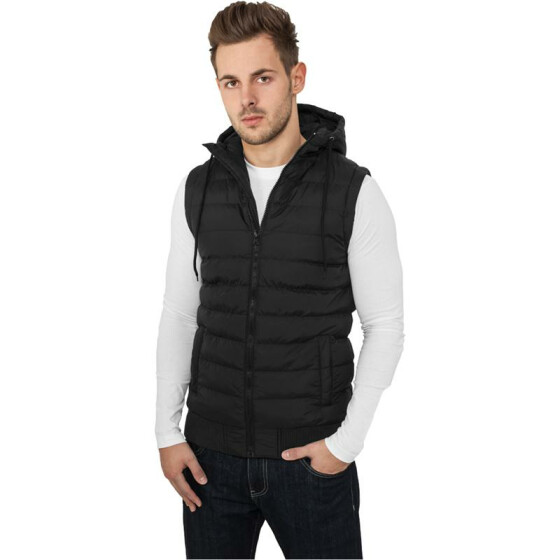 Urban Classics Small Bubble Hooded Vest, blk/blk L