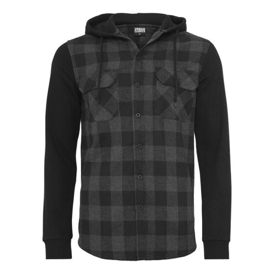 Urban Classics Hooded Checked Flanell Sweat Sleeve Shirt, blk/cha/bl XL