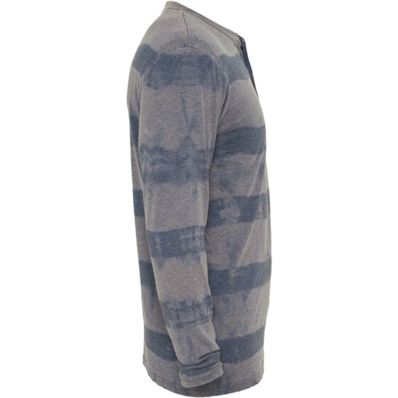 Urban Classics Fantasy Stripe Burnout L/S Henley, denimblue M