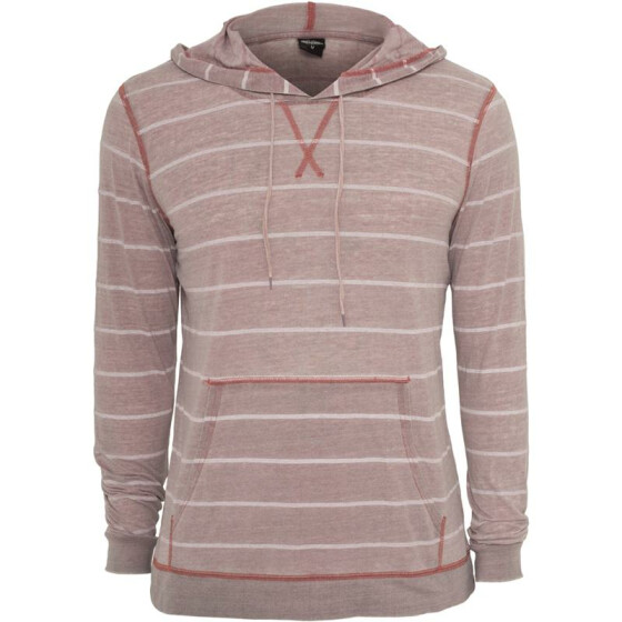 Urban Classics Striped Burnout Hoody, ruby/wht S