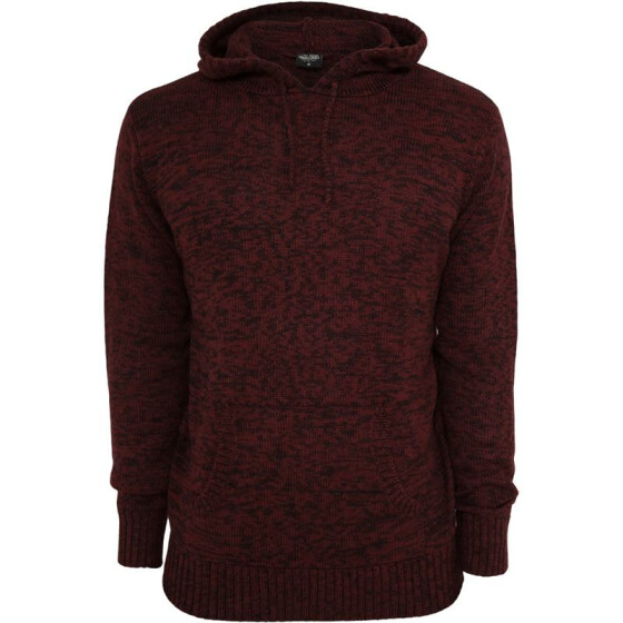 Urban Classics Melange Knitted Hoody, blk/ruby S