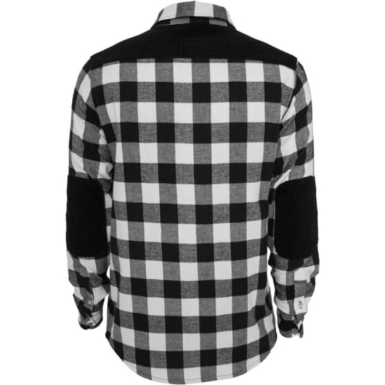 Urban Classics Cord Patched Checked Flanell Shirt, blk/wht M