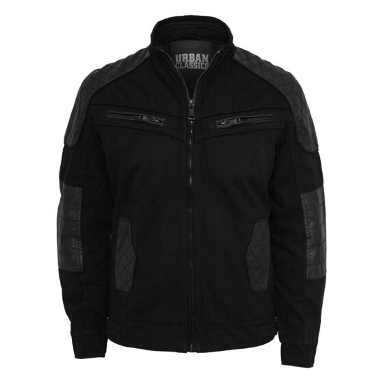 Urban Classics Cotton/Leathermix Racer Jacket, black M