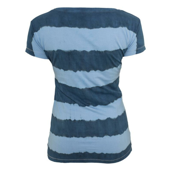 Urban Classics Ladies Dip Dye Stripe Tee, denimblue/skyblue S