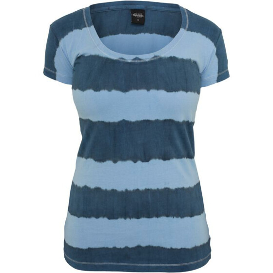 Urban Classics Ladies Dip Dye Stripe Tee, denimblue/skyblue M