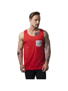 Urban Classics Contrast Pocket Jersey Big Tank, red/wht/aztec M