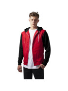 Urban Classics Relaxed 3-Tone Zip Hoody, red/blk/wht M
