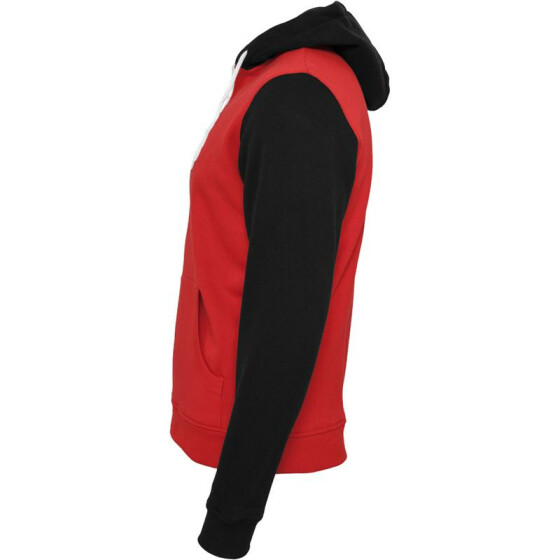 Urban Classics Relaxed 3-Tone Zip Hoody, red/blk/wht XL
