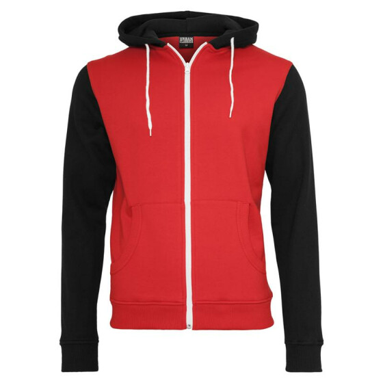 Urban Classics Relaxed 3-Tone Zip Hoody, red/blk/wht 2XL