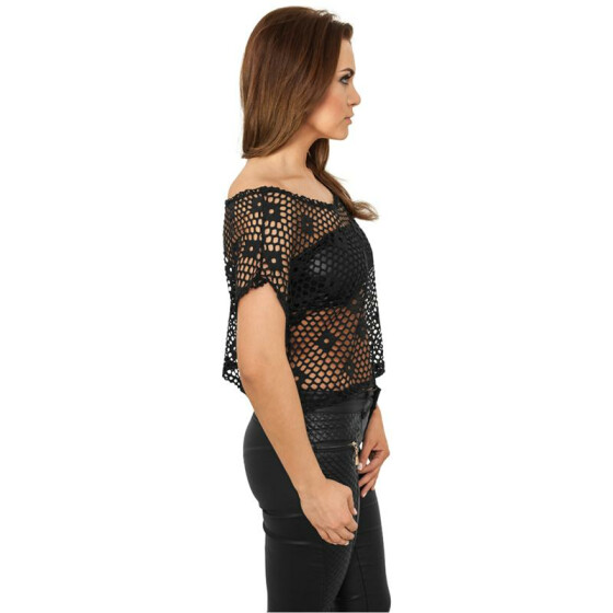 Urban Classics Ladies Short Mesh Top, black XS