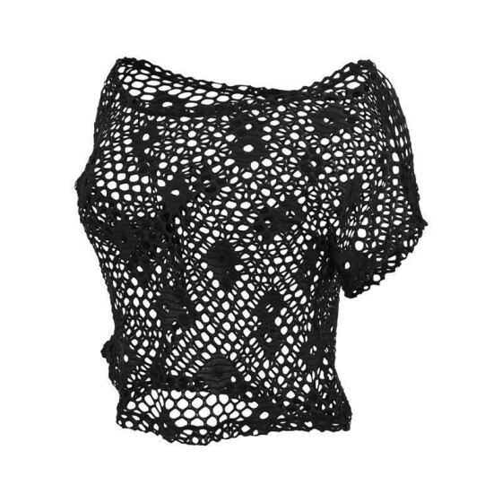 Urban Classics Ladies Short Mesh Top, black L