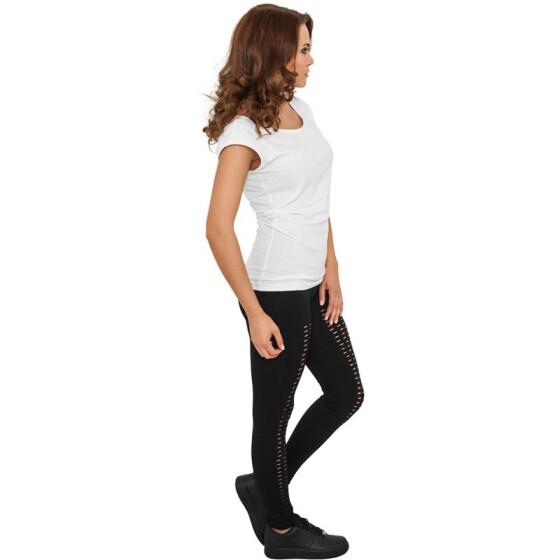 Urban Classics Ladies Cutted Leggings, black XS