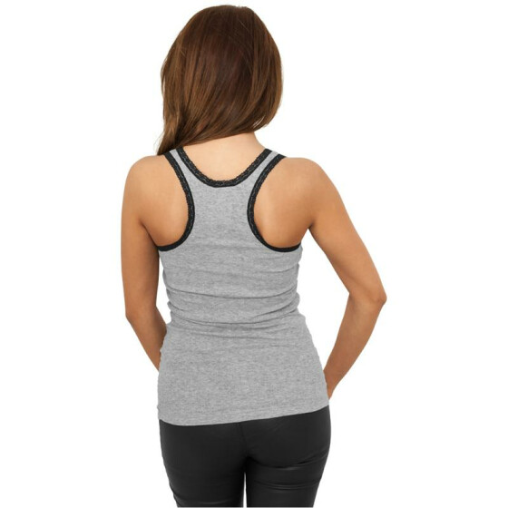 Urban Classics Ladies Button Laces Tanktop, gry/blk S