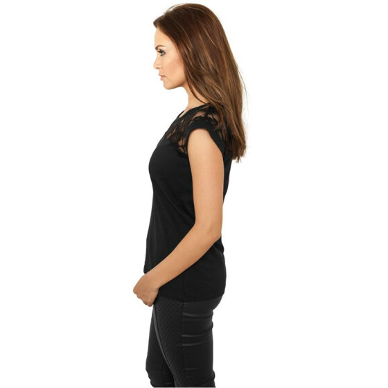 Urban Classics Ladies Top Laces Tee, black XS