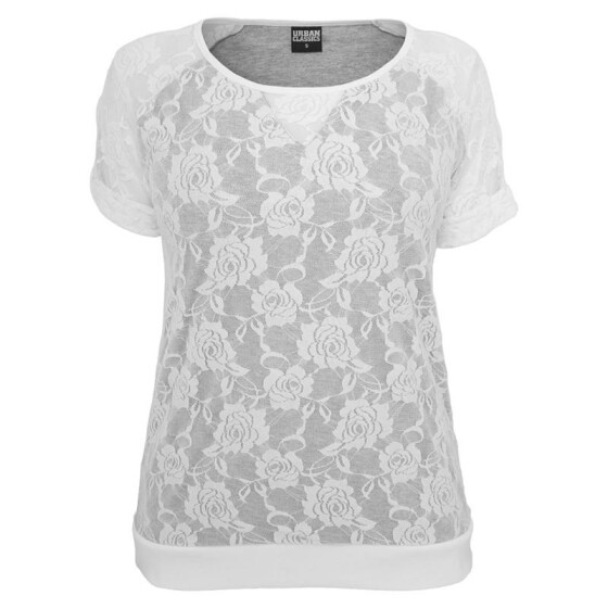 Urban Classics Ladies Double Layer Laces Tee, wht/gry M