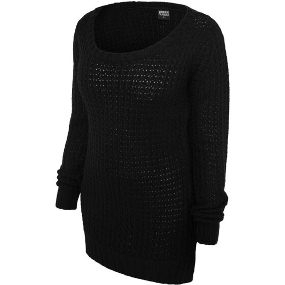 Urban Classics Ladies Long Wideneck Sweater, black L