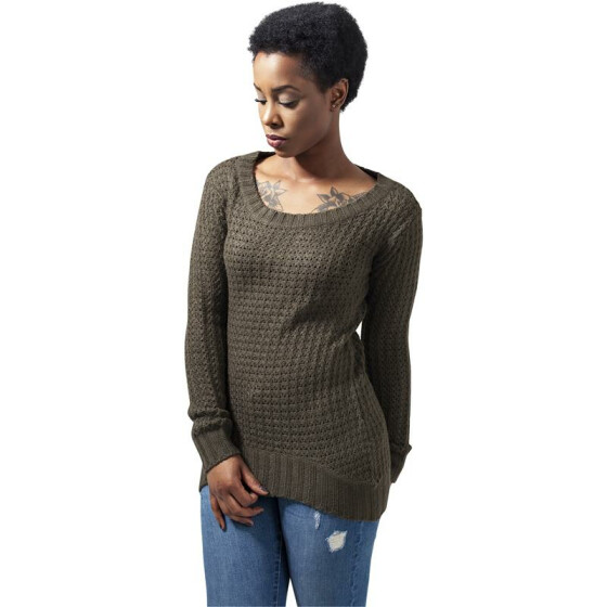 Urban Classics Ladies Long Wideneck Sweater, olive XS