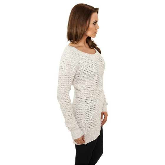 Urban Classics Ladies Long Wideneck Sweater, offwhite XS