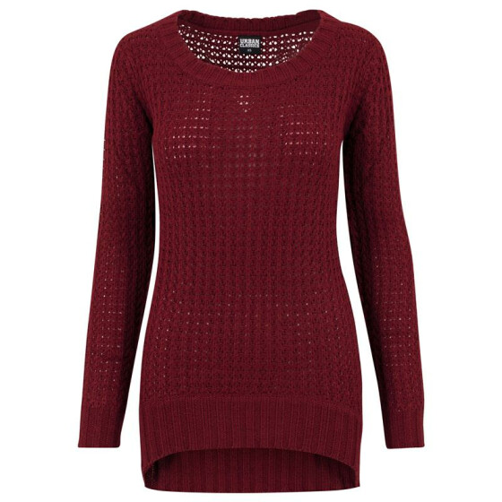 Urban Classics Ladies Long Wideneck Sweater, burgundy XL