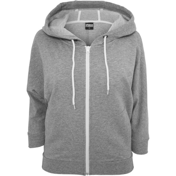 Urban Classics Ladies Bat 3/4 Sleeve Zip Hoody, gry/wht M