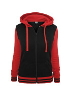Urban Classics Ladies 2-Tone College Zip Hoody, blk/red L