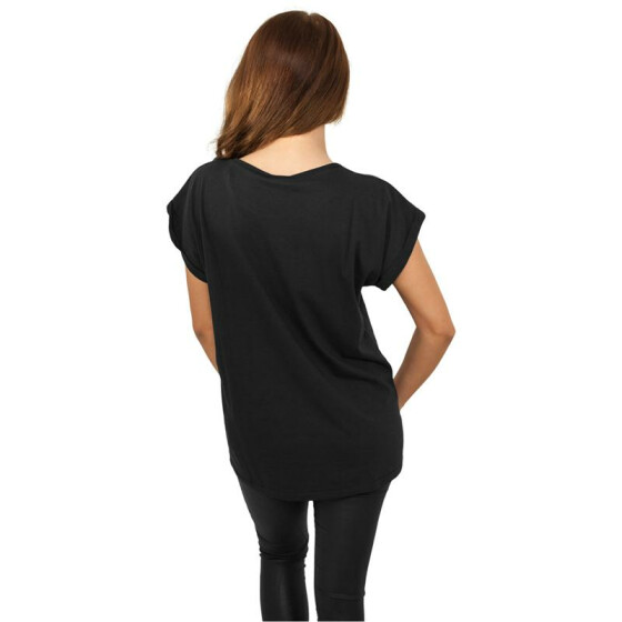Urban Classics Ladies Extended Shoulder Tee, black XS