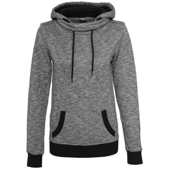 Urban Classics Ladies High Neck Hoody, blk/wht XL