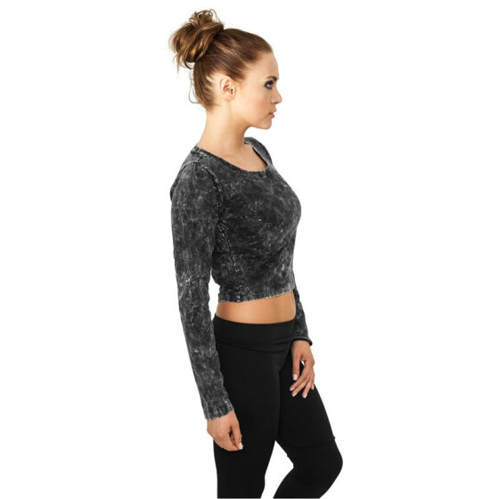 Urban Classics Ladies Cropped Acid Wash L/S, darkgrey L