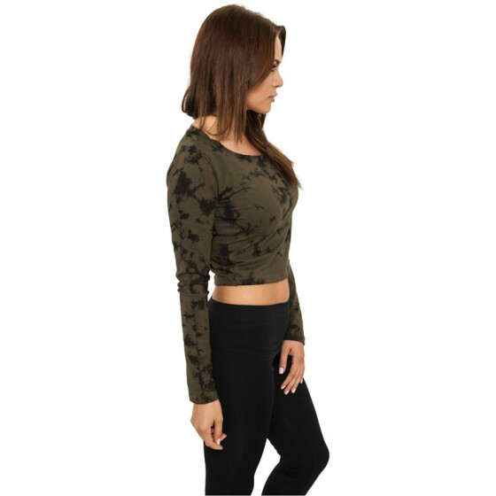 Urban Classics Ladies Cropped Acid Wash L/S, olv/blk L