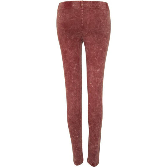 Urban Classics Ladies Acid Wash Leggings, burgundy L