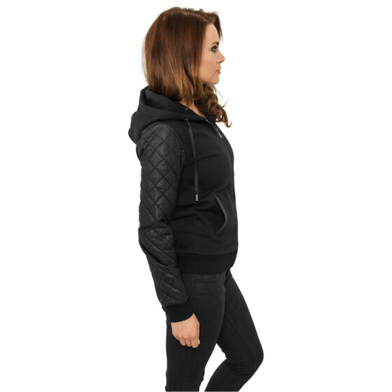 Urban Classics Ladies Diamond Leather Imitation Sleeve Zip Hoody, blk/blk XL