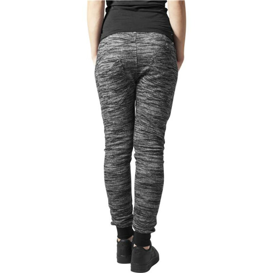 Urban Classics Ladies Fitted Melange Zip Sweatpants, blk/gry XS