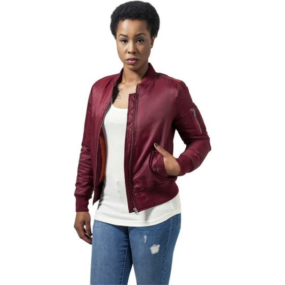 Urban Classics Ladies Basic Bomber Jacket, burgundy M