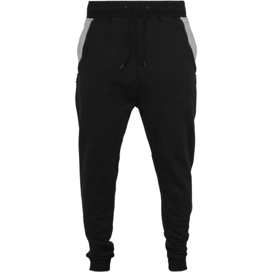 Urban Classics Side Zip Contrast Pocket Sweatpant, blk/gry L