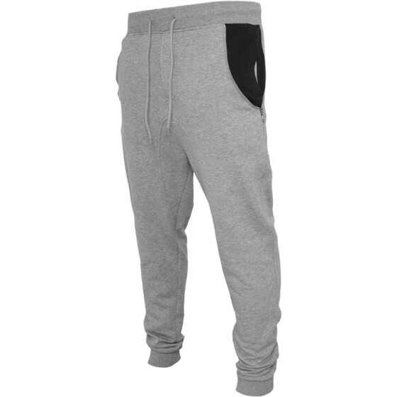 Urban Classics Side Zip Contrast Pocket Sweatpant, gry/blk XXL