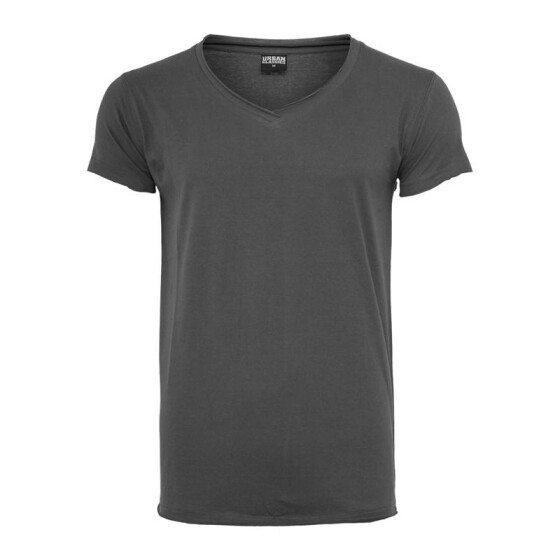 Urban Classics Fitted Peached Open Edge V-Neck Tee, darkgrey L