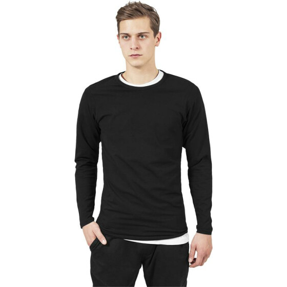 Urban Classics Fitted Stretch L/S Tee, black L