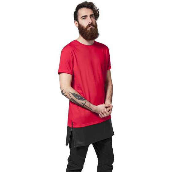 Urban Classics Long Zipped Leather Imitation Bottom Tee, red/blk S