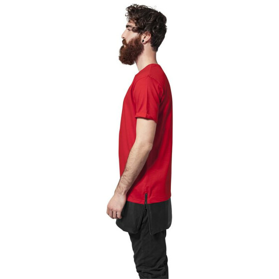 Urban Classics Long Zipped Leather Imitation Bottom Tee, red/blk L