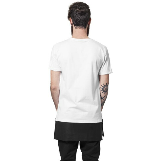 Urban Classics Long Zipped Leather Imitation Bottom Tee, wht/blk S