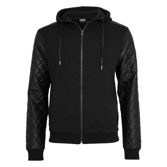 Urban Classics Diamond Leather Imitation Sleeve Zip Hoody, blk/blk M