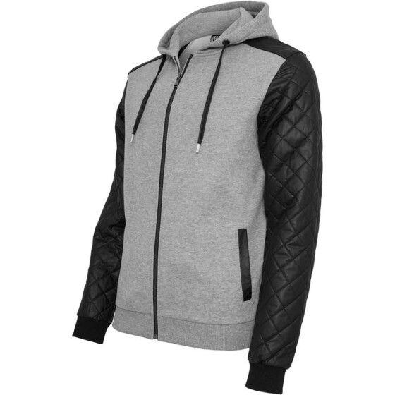 Urban Classics Diamond Leather Imitation Sleeve Zip Hoody, gry/blk L