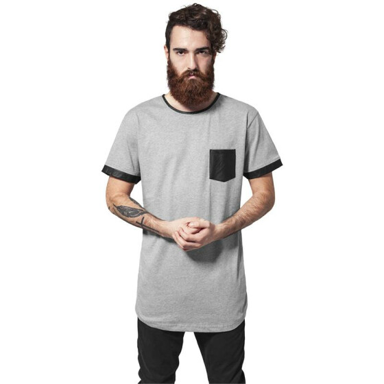Urban Classics Long Shaped Leather Imitation Tee, gry/blk L