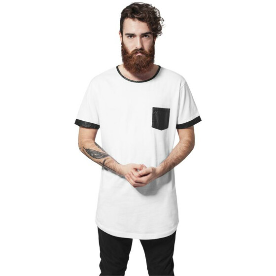 Urban Classics Long Shaped Leather Imitation Tee, wht/blk XL