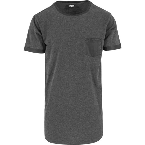 Urban Classics Long Shaped Leather Imitation Tee, cha/blk S